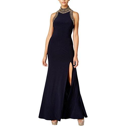 Blondie Nites Womens Embellished Mock-Neck Formal Dress Navy 13 by Blondie Nites