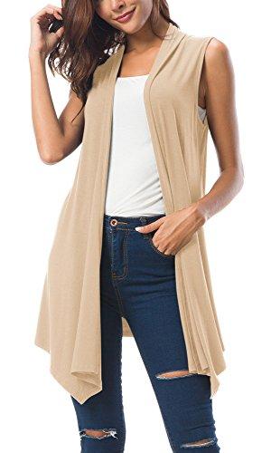 Women's Sleeveless Draped Open Front Cardigan Vest Asymmetric Hem (S, Apricot)