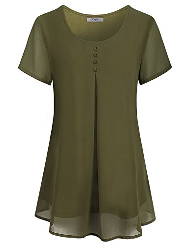 Cestyle Layered Tunic Tops For Women Ladies Short Sleeve Crew Neck Buttons Embellished Pleats Back Chiffon T Shirt Blouses Maternity Loose Fit Oversized Tunic Dress Olive Green X Large