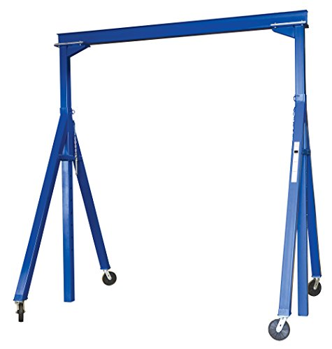Vestil AHS-4-10-16 Steel Adjustable Height Gantry Crane, 4000 lbs Capacity,  10' Length x 8'' Height Beam, 126''-192'' Usable Height by Vestil