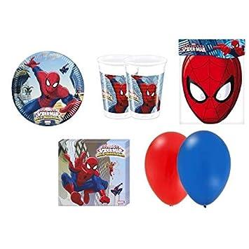 Spiderman Cumpleaños kit para fiesta 8 Personas: Amazon.es ...