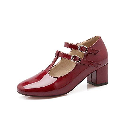 Lucksender Femmes Bout Rond Talon Épais Talon Cheville Mary Jane Chaussures Chaussures Vin Rouge