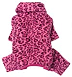 Soft Fleece Pink Leopard Print Turtleneck Bodysuit/Pajamas for Small Dogs – M, My Pet Supplies