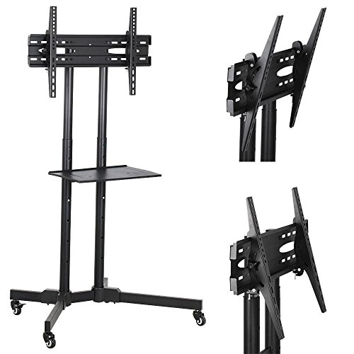 go2buy Mobile TV Cart Mount Stand for 32 to 65 Inch LED LCD Plasma Flat Screen Panels with Storage Shelves on Wheels