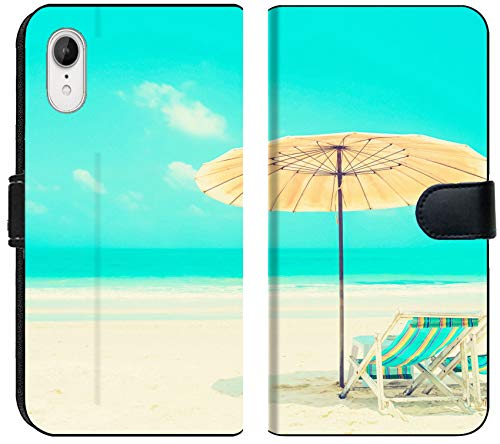 Luxlady iPhone XR Flip Fabric Wallet Case ID: 40830280 Blue sea and White Sand Beach with Beach Chairs and Parasol Holiday and vacati -