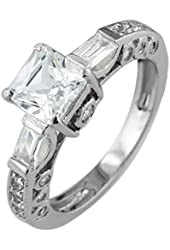 Sterling Silver Princess Pave Cubic Zirconia Engagement Ring