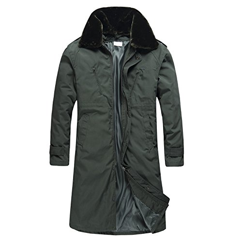 Tasca Con A Fym Di Giacca Maschile Manica Solido Giacche Lunga Bavero Cappotto Verde Cerniera Colore Vento Dyf Militare xOgIqd7