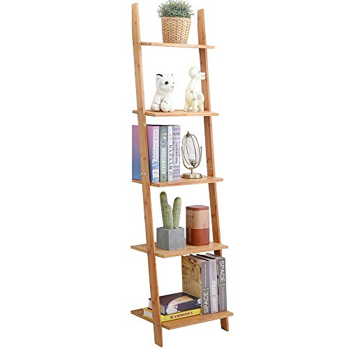 exilot Natural Bamboo Ladder Shelf 5-Tier Wall-Leaning Bookshelf Ladder Bookcase Storage Display Shelves for Living Room, Kitchen, Office, Multi-Functional Plant Flower Stand Shelf.