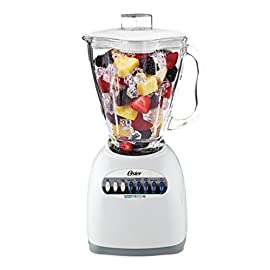 Oster 6647 10-Speed Blender, White 14 700 power watts/450 blending watts Crush Pro 4 Blade uses stainless steel, 4-point design to pulverize and chop with precision Oster 10 Year DURALAST All-Metal Drive Limited Warranty for lasting durability