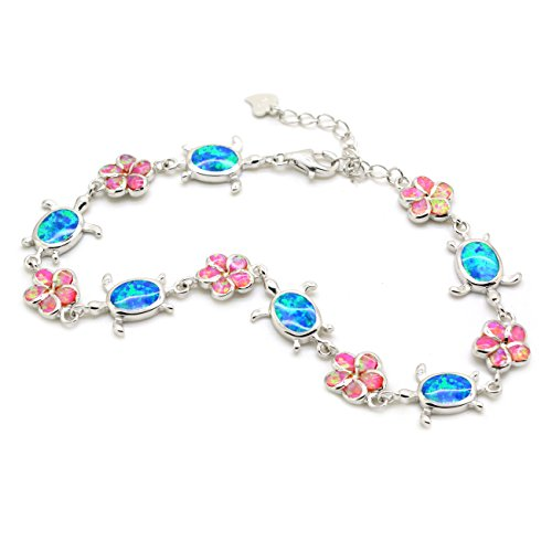 Created Opal Bracelet Turtle Plumeria Flower Sterling Silver Sealife Blue Pink Multi Color, 7.5