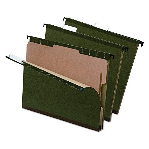 Reinforced Hanging Folder Dividers (Pendaflex 59253 SureHook Reinforced Hanging Folder, 1 Divider, Letter, 1/5 Tab, Green (Box of 10))