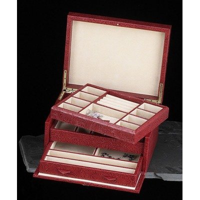 Multi-level Jewelry Box Color: Red Leather