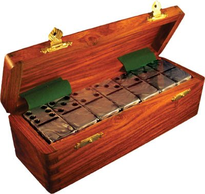 Spot Domino - Domino Double Six Silver Marbleized in Dovetail Jointed Sheesham Wood Box - Jumbo Tournament Size