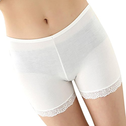 Conina Women's Underwear, Leggings Pants Casual Lace Solid Stretchy Underwear Shorts Seamless Safety (White) from Conina