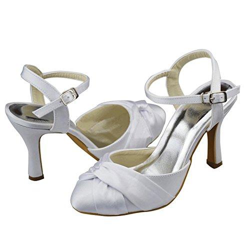 ... Minishion Jenter Kvinners Slingback Sateng Brude Bryllup Sko Prom Fest  Pumper White-9.5cm Hæl ...
