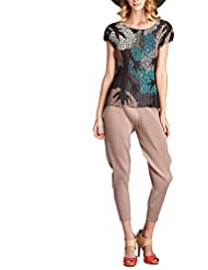Nabisplace Tree Printed Pleated Top Beige