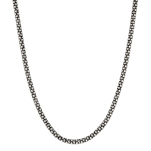 (Element Jewelry Rhodium Plated Oxidized Popcorn Chain Necklace- 16 in + 3)
