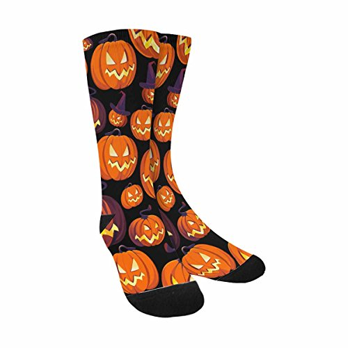 InterestPrint Funny Cute Novelty and Cool Halloween Pattern With Pumpkins Sublimated Crew Socks Unisex
