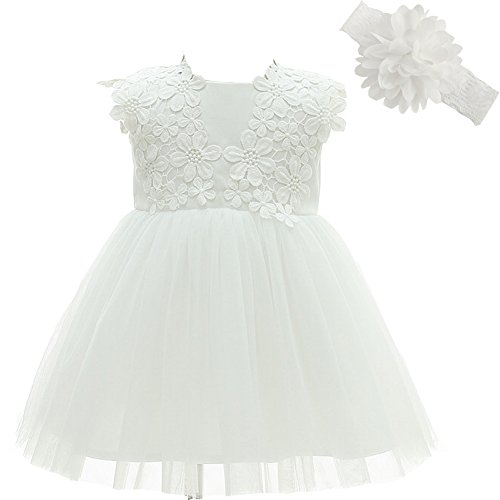 Baby Girl Dress Christening Baptism Gowns Flower Girl Dress, White, 6M