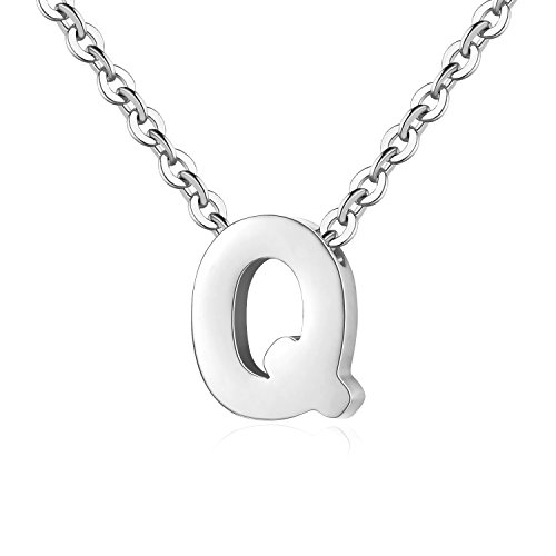TOUGHARD Polished Tiny Initial Alphabet Letter Pendant Necklace, Delicate Charm Jewelry for Girls Women (Q: Silver Tone)