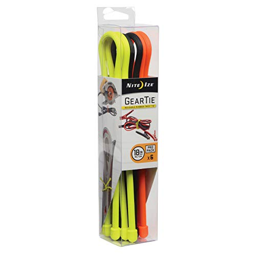 Nite Ize Original Gear Tie, Reusable Rubber Twist Tie, 18-Inch, Assorted Colors, 6 Count Pro Pack, Made in the USA ()
