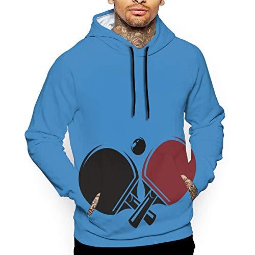 Men's Pullover Hooded Sweatshirt Table Tennis Hoodies Cozy Drawstring Kangaroo Pockets White
