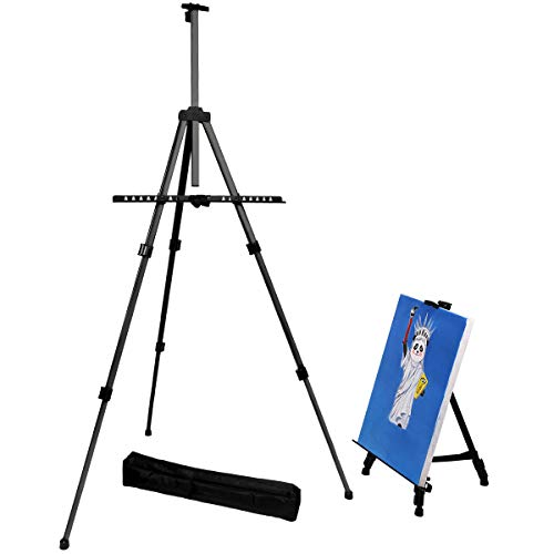 Transon Aluminum Art Easel Stand for Table and Floor 65 inch Lightweight Adjustable with Portable Bag(Black)
