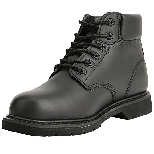 Bull Run Boots Men's Work Boot Safety Work Shoes Premium Leather Black