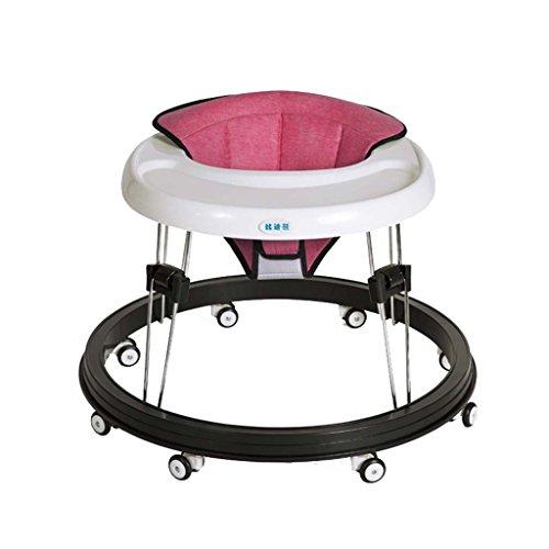 Baby Walker - Con Ruedas Multifunción Niño Anti-Rollover Bebé One-Touch Plegable Baby Walker Aprende A Manejar 3Rd Gear Ajustable,Pink