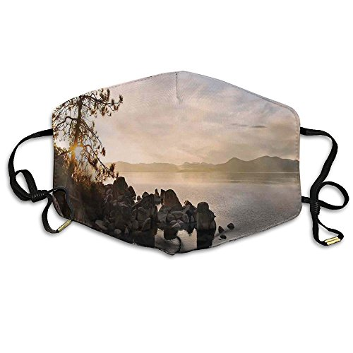 ahoe At Sunset With Clear Sky And Single Pine Tree Unisex Allergy Flu Masks Face Masks Breathable Health Masks Anti-Dust Mask ()
