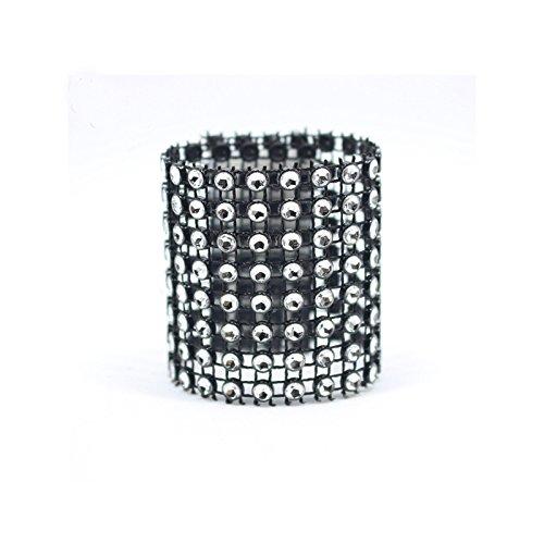 (Black) - Napkin Rings DIY Custom-made Plastic Rhinestone Mesh Napkin Ring For Hotal Home Table Chair Banquet Decoration Pack of 100 pcs (Black)   B074JGQTB6