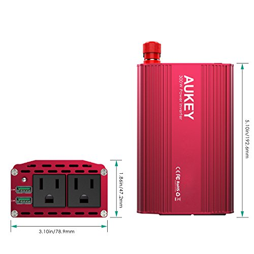 AUKEY 300W Power Inverter with Dual Outlets and Dual 2.4A USB Ports