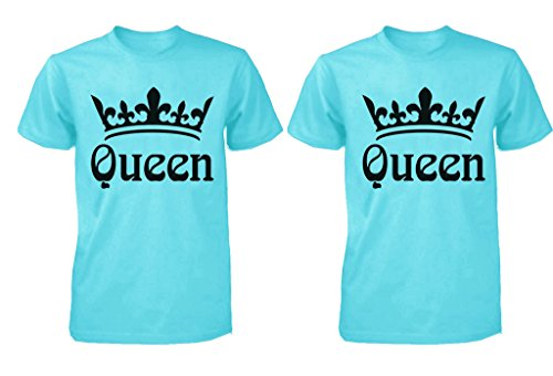 FASCIINO LGBT Matching Gay Pride Hers & Hers Lesbian Couple T-Shirt Set - Queen and Queen Crowns (Queen Shirt #1: Large/Queen Shirt #2: XLarge Scuba Blue)