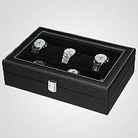 SONGMICS JWB12B-Caja (12 Compartimentos, Tapa de Cristal, Estuche ...