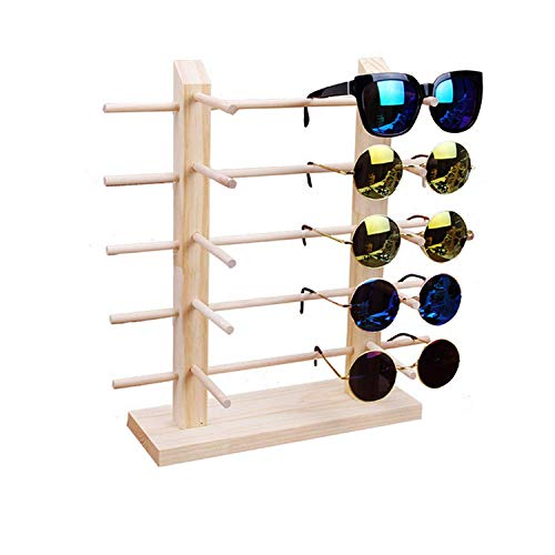 TANG SONG Solid Wood Glass Display Holder Sunglass Display Holder Wood Glass Display Rack Double Linen Glass ()