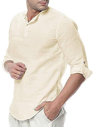 Short Sleeve V-neck Pullover - Gtealife Mens Linen Henley Shirt Casual 3/4 Sleeve T Shirt Pullover Tees V Neck Curved Hem Cotton Shirts Beach Tops (Medium, Beige)