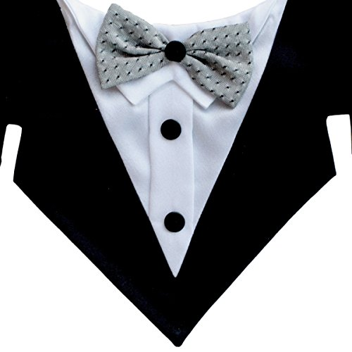 Tail Trends Formal Dog Tuxedo Bandana With Bow Tie and Neck Tie Designs