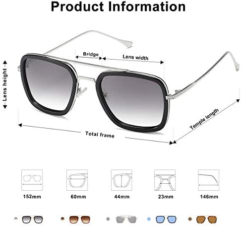 SOJOS Polarized Sunglasses for Men Women Retro Aviator Square Goggle Classic Alloy Frame HERO SJ1126