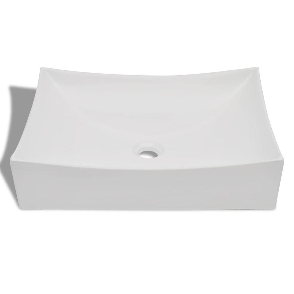 vidaXL Vasque de Salle Bains C/éramique Haute Brillance Blanc Lavabo Lave-Mains