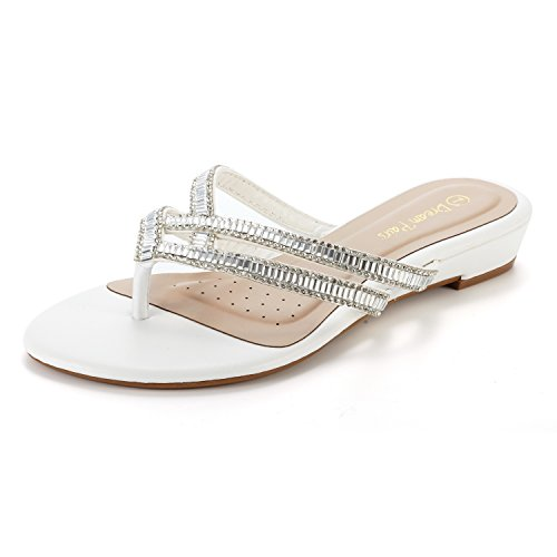 DREAM PAIRS Women's Jewel_01 White Fashion Rhinestones Design Slides Sandals Size 6.5 M US ()