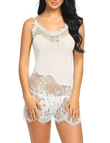d165268690e ADOME Womens Lace Babydoll Lingerie Mesh Chemise Satin Sleepwear Mini Teddy