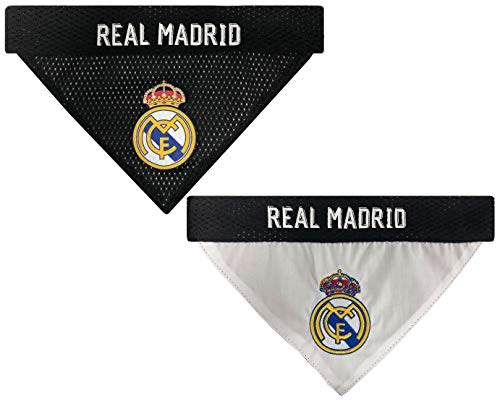 White Reversible Dog Scarf - MLS Real Madrid REVERSIBLE BANDANA for DOGS & CATS. Cutest Pet Bandana Scarf Bib Apron for Soccer Fans, Team color, SIZE: Small / Medium