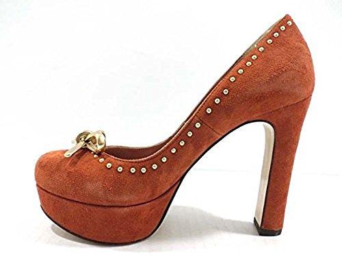 scarpe donna TWIN-SET 36 decoltè camoscio rosso ruggine AY765