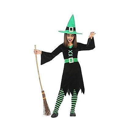 Atosa-55587 Disfraz Bruja para Niña Infantil, color verde, 5 a 6 años. (55587)