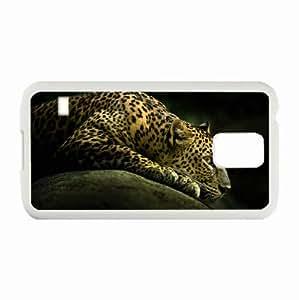 Customized Samsung Galaxy S5 i9600 Hard Shell Cover Case Diy Personalized Designanimals wild leopard White
