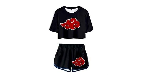 Amazon.com: Akatsuki Outfits Naruto Cosplay Anime Print Crop ...