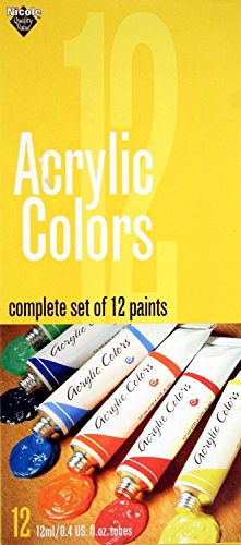 Nicole Acrylic Colors Set, 12 Tubes, 12-ml each