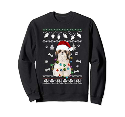 Shih Tzu Christmas Dog Light Ugly Sweater T-Shirt