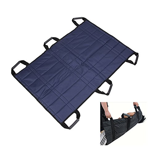 Transfer Boards Belt Slide Adult Protective Underpads Draw Sheet Turner Medical Lifting Sling Mobility Equipment Care Hospital Bed Patients Positioning Pad for Elderly Bariatric (Blue - 6 Handles)