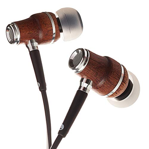 (Symphonized NRG X Sapele Wood Earbuds, Ergonomic Design in-Ear Noise-Isolating Headphones, Earphones with Angle-Fit Ear Tips, in-line Microphone and Volume Control, Stereo Earphones (Black &)
